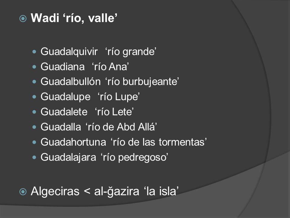 Wadi río, valle Guadalquivir río grande Guadiana río Ana Guadalbullón río burbujeante Guadalupe río Lupe Guadalete río Lete Guadalla río de Abd Allá G