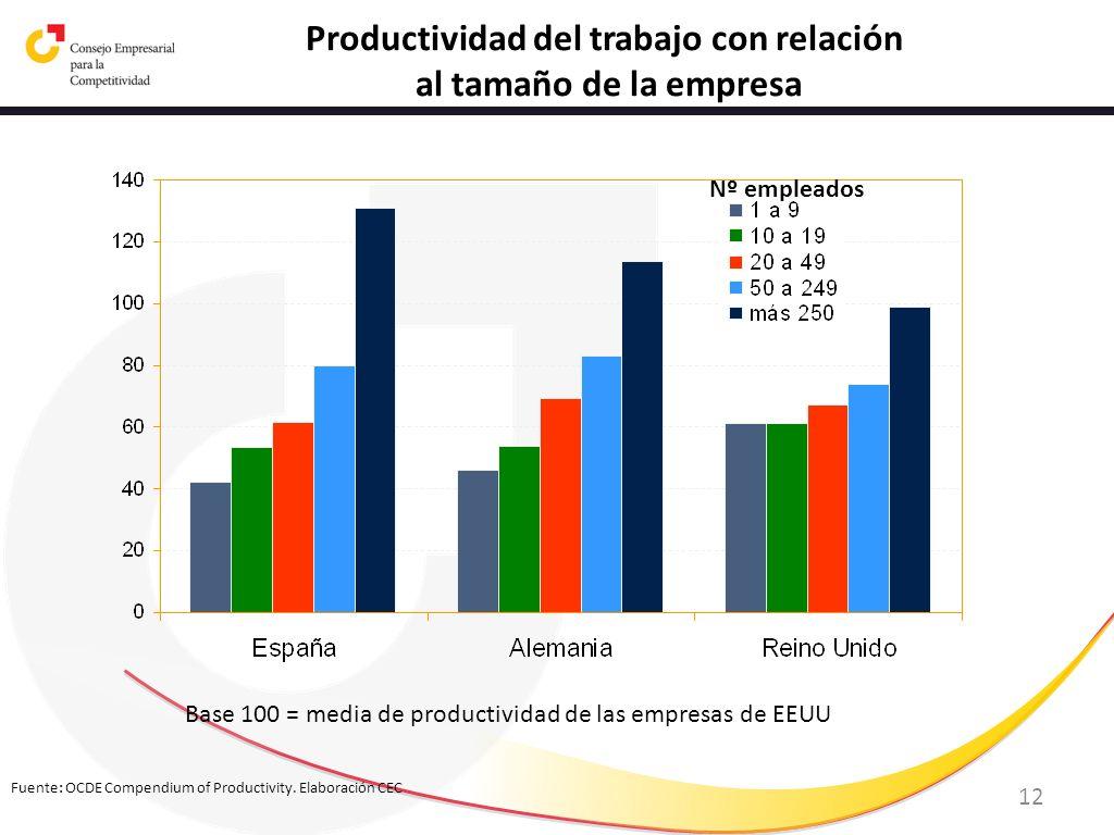 12 Fuente: OCDE Compendium of Productivity. Elaboración CEC Productividad del trabajo con relación al tamaño de la empresa Base 100 = media de product