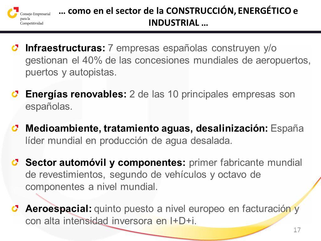 17 … como en el sector de la CONSTRUCCIÓN, ENERGÉTICO e INDUSTRIAL … Infraestructuras: 7 empresas españolas construyen y/o gestionan el 40% de las con