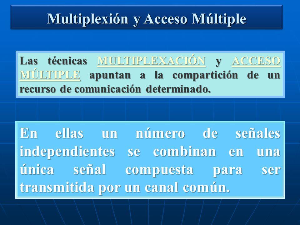 Multiplexión y Acceso Múltiple Las técnicas MULTIPLEXACIÓN y ACCESO MÚLTIPLE apuntan a la compartición de un recurso de comunicación determinado. MULT