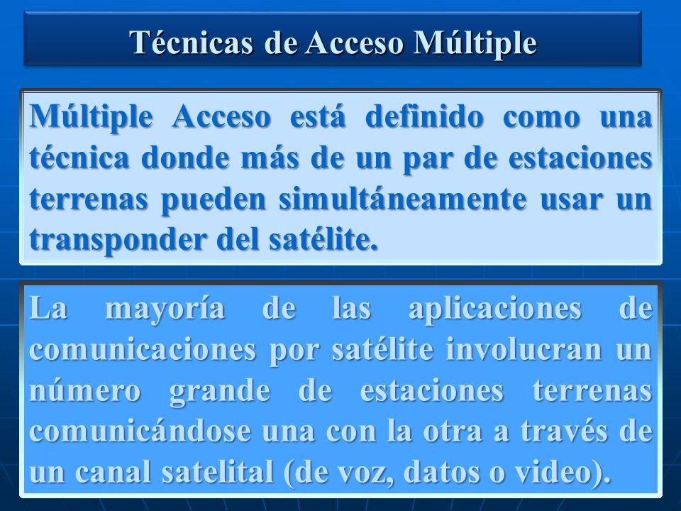 Múltiple Acceso está definido como una técnica donde más de un par de estaciones terrenas pueden simultáneamente usar un transponder del satélite. Téc