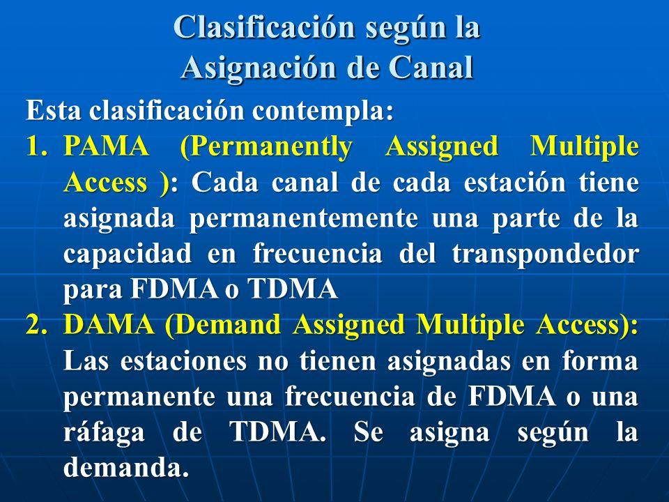 Esta clasificación contempla: 1.PAMA (Permanently Assigned Multiple Access ): Cada canal de cada estación tiene asignada permanentemente una parte de