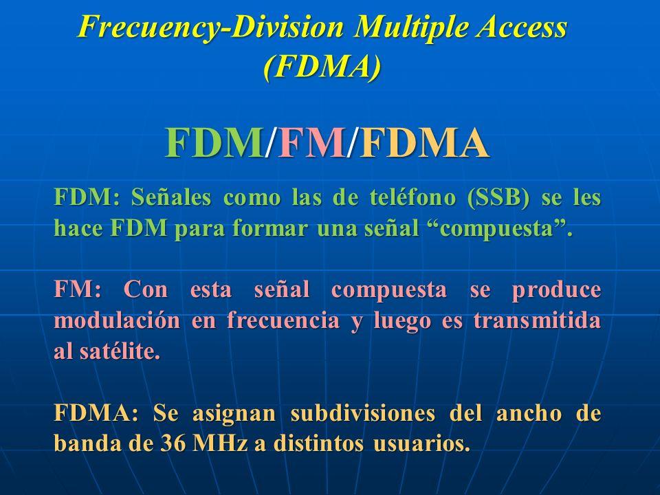 Frecuency-Division Multiple Access (FDMA) FDM/FM/FDMA FDM: Señales como las de teléfono (SSB) se les hace FDM para formar una señal compuesta. FM: Con