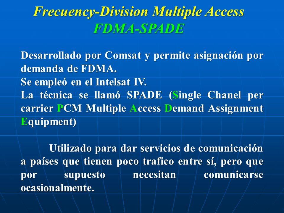 Frecuency-Division Multiple Access FDMA-SPADE Desarrollado por Comsat y permite asignación por demanda de FDMA. Se empleó en el Intelsat IV. La técnic