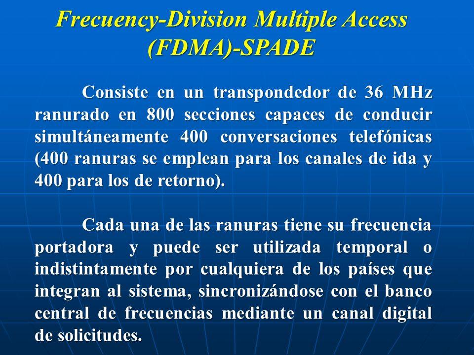 Frecuency-Division Multiple Access (FDMA)-SPADE Consiste en un transpondedor de 36 MHz ranurado en 800 secciones capaces de conducir simultáneamente 4