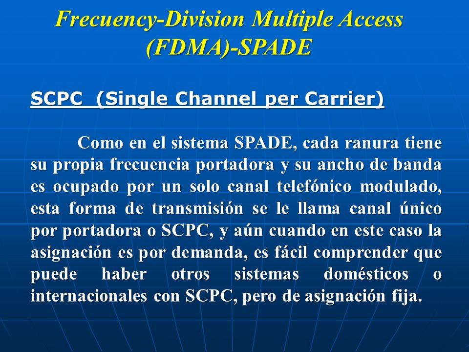 Frecuency-Division Multiple Access (FDMA)-SPADE SCPC (Single Channel per Carrier) Como en el sistema SPADE, cada ranura tiene su propia frecuencia por