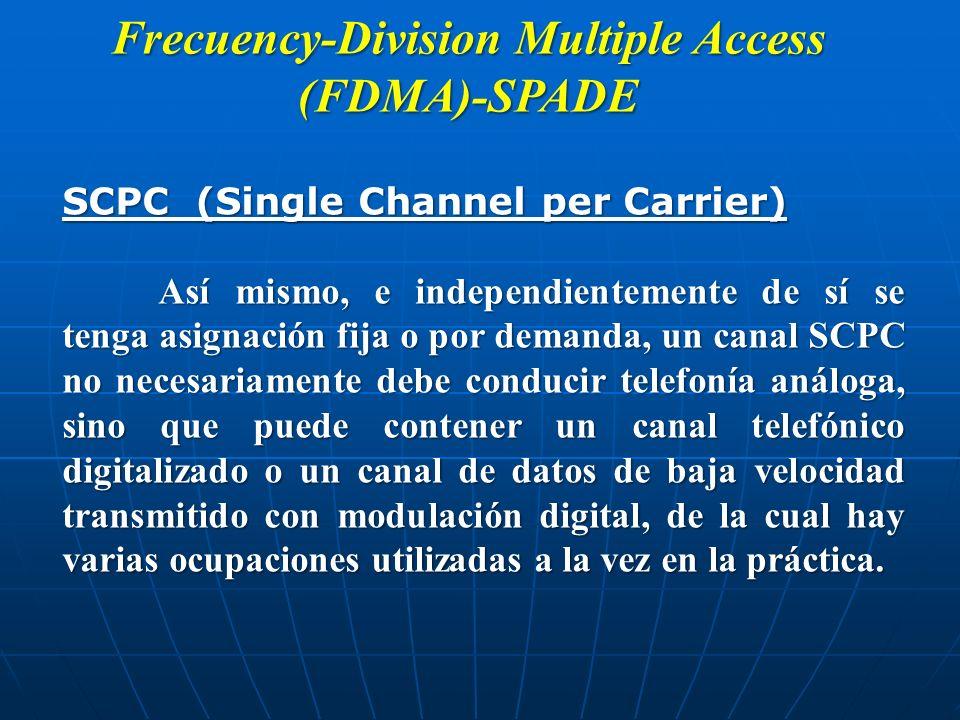 Frecuency-Division Multiple Access (FDMA)-SPADE SCPC (Single Channel per Carrier) Así mismo, e independientemente de sí se tenga asignación fija o por
