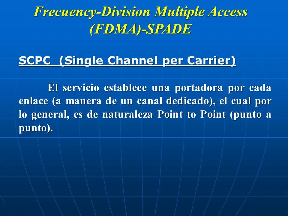 Frecuency-Division Multiple Access (FDMA)-SPADE SCPC (Single Channel per Carrier) El servicio establece una portadora por cada enlace (a manera de un