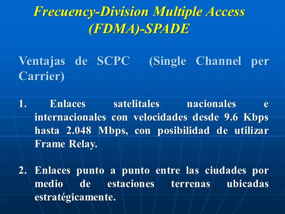 Frecuency-Division Multiple Access (FDMA)-SPADE Ventajas de SCPC (Single Channel per Carrier) 1. Enlaces satelitales nacionales e internacionales con