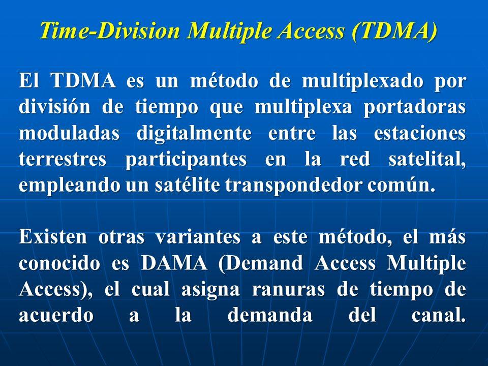 El TDMA es un método de multiplexado por división de tiempo que multiplexa portadoras moduladas digitalmente entre las estaciones terrestres participa