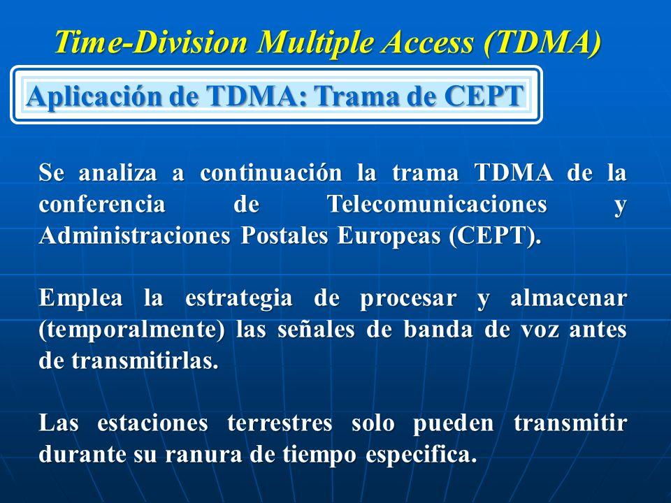 Time-Division Multiple Access (TDMA) Aplicación de TDMA: Trama de CEPT Se analiza a continuación la trama TDMA de la conferencia de Telecomunicaciones