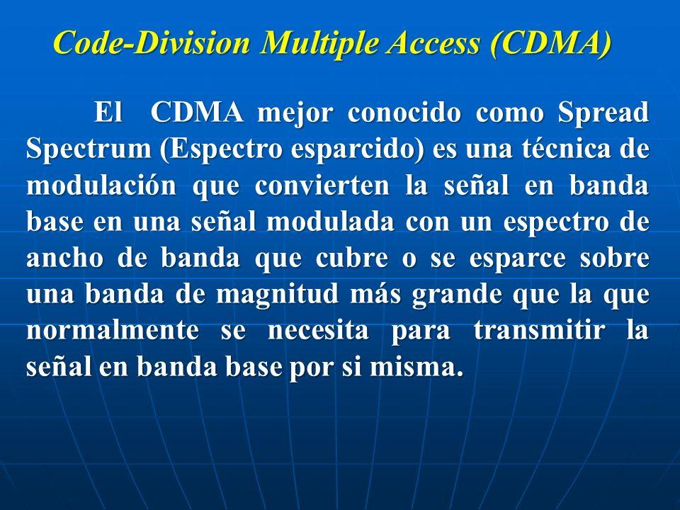 El CDMA mejor conocido como Spread Spectrum (Espectro esparcido) es una técnica de modulación que convierten la señal en banda base en una señal modul