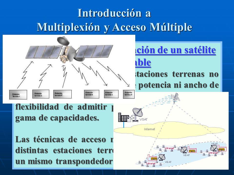 Introducción a Multiplexión y Acceso Múltiple La capacidad de comunicación de un satélite es considerable La gran mayoría de las estaciones terrenas n