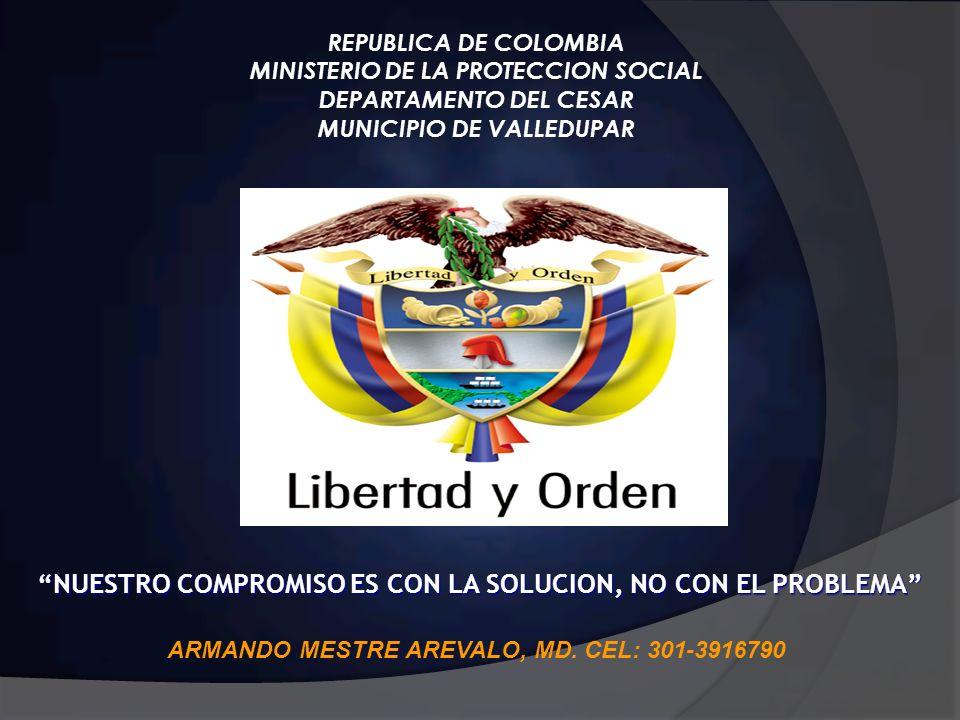 REPUBLICA DE COLOMBIA MINISTERIO DE LA PROTECCION SOCIAL DEPARTAMENTO DEL CESAR MUNICIPIO DE VALLEDUPAR NUESTRO COMPROMISO ES CON LA SOLUCION, NO CON