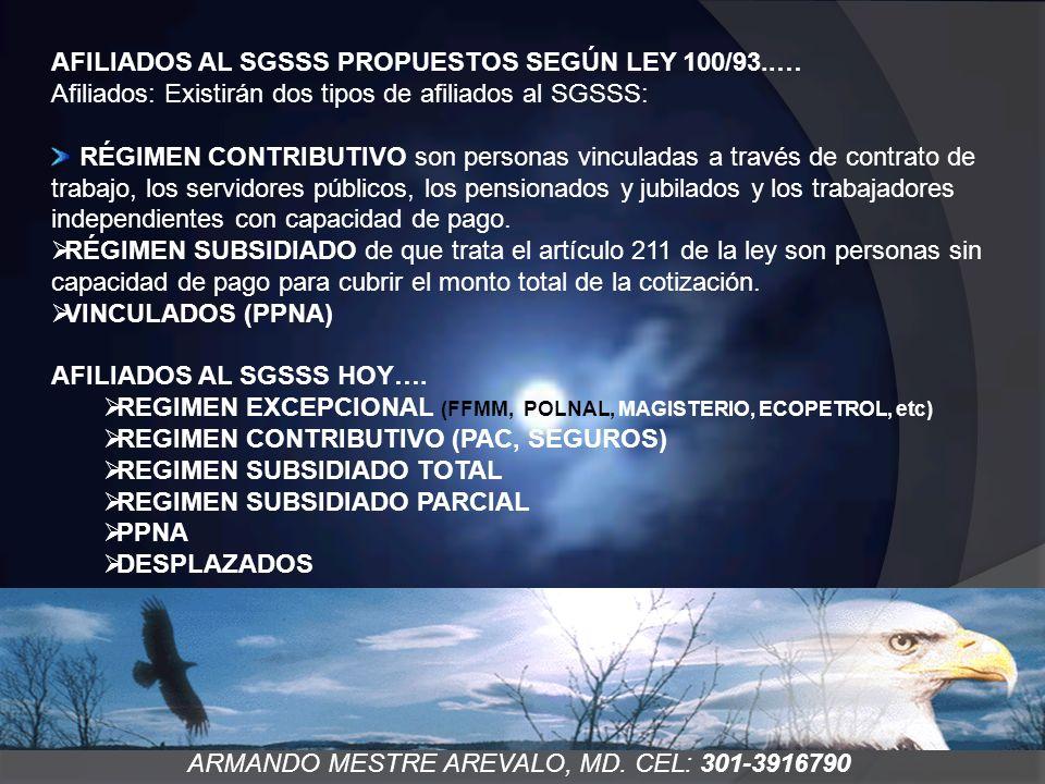 ARMANDO MESTRE AREVALO, MD. CEL: 301-3916790 AFILIADOS AL SGSSS PROPUESTOS SEGÚN LEY 100/93..… Afiliados: Existirán dos tipos de afiliados al SGSSS: R