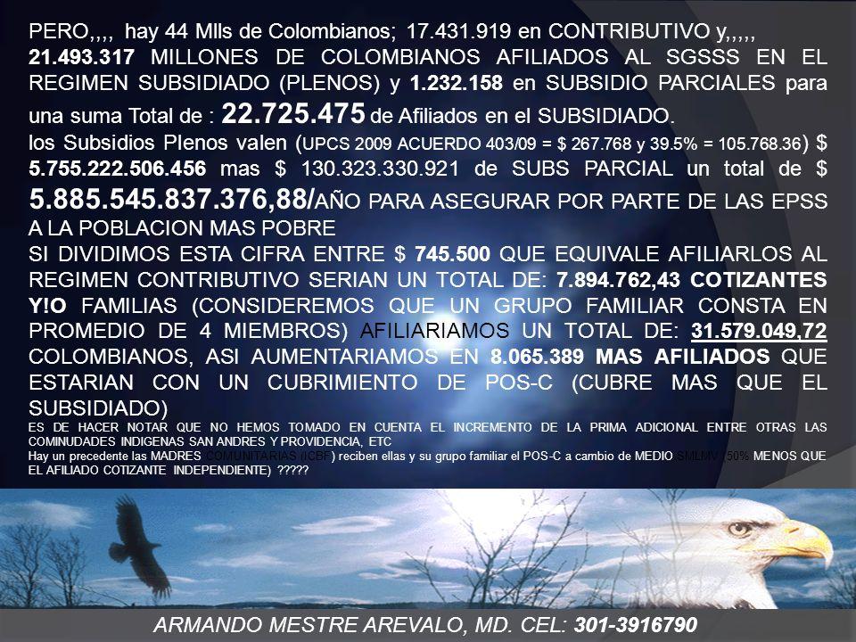ARMANDO MESTRE AREVALO, MD. CEL: 301-3916790 PERO,,,, hay 44 Mlls de Colombianos; 17.431.919 en CONTRIBUTIVO y,,,,, 21.493.317 MILLONES DE COLOMBIANOS