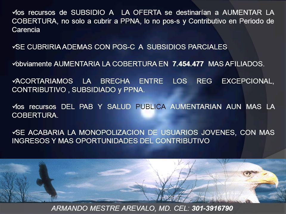 ARMANDO MESTRE AREVALO, MD. CEL: 301-3916790 los recursos de SUBSIDIO A LA OFERTA se destinarían a AUMENTAR LA COBERTURA, no solo a cubrir a PPNA, lo