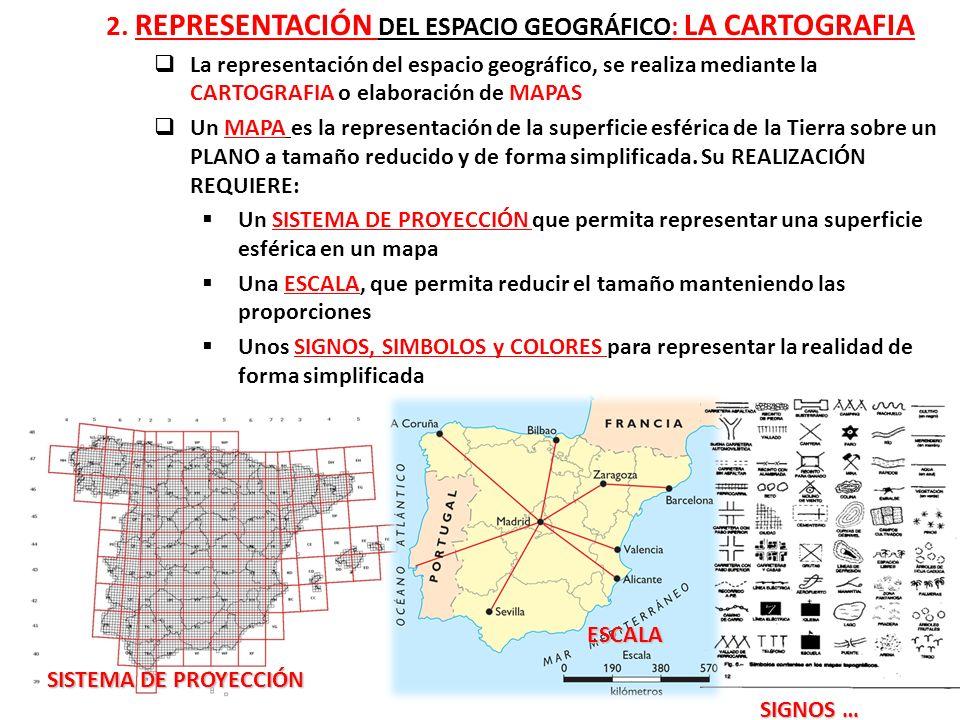 2. REPRESENTACIÓN DEL ESPACIO GEOGRÁFICO: LA CARTOGRAFIA La representación del espacio geográfico, se realiza mediante la CARTOGRAFIA o elaboración de