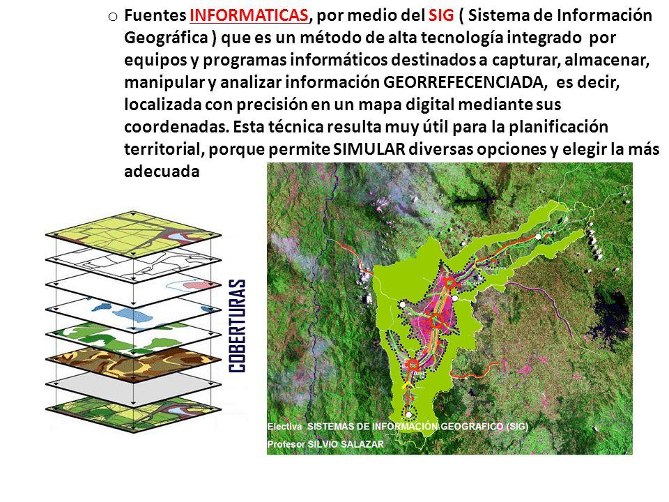 oFoFuentes INFORMATICAS, por medio del SIG ( Sistema de Información Geográfica ) que es un método de alta tecnología integrado por equipos y programas