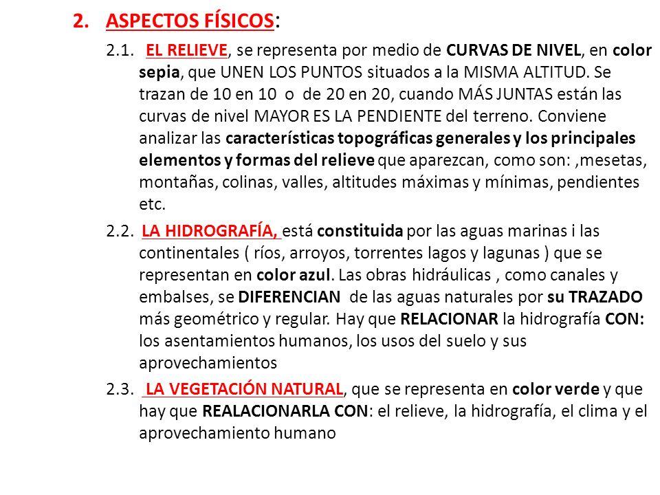 2.ASPECTOS FÍSICOS : 2.1. EL RELIEVE, se representa por medio de CURVAS DE NIVEL, en color sepia, que UNEN LOS PUNTOS situados a la MISMA ALTITUD. Se