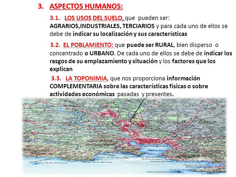 3.ASPECTOS HUMANOS: LOS USOS DEL SUELO, 3.1. LOS USOS DEL SUELO, que pueden ser: AGRARIOS,INDUSTRIALES, TERCIARIOS y para cada uno de ellos se debe de