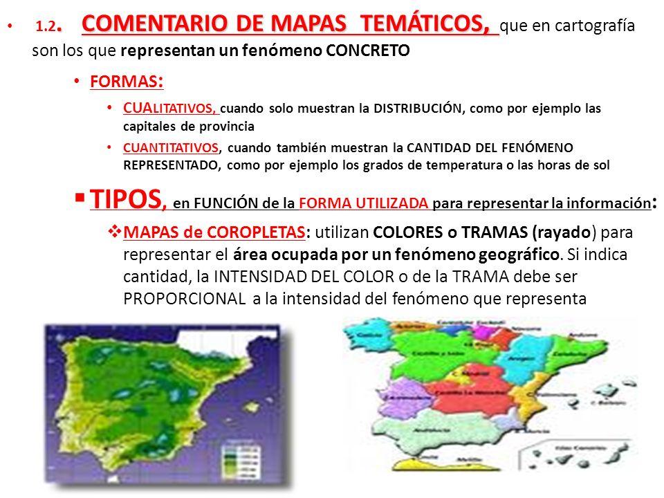1.2. COMENTARIO DE MAPAS TEMÁTICOS, que en cartografía son los que representan un fenómeno CONCRETO FORMAS : CUA LITATIVOS, cuando solo muestran la DI