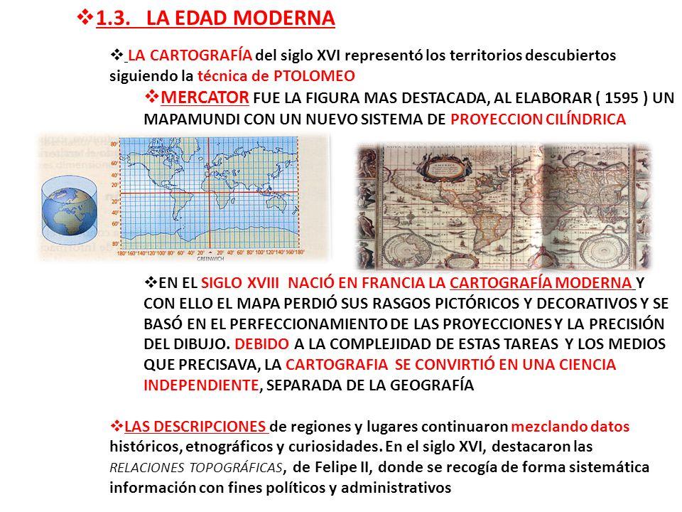1.3. LA EDAD MODERNA LA CARTOGRAFÍA del siglo XVI representó los territorios descubiertos siguiendo la técnica de PTOLOMEO MERCATOR FUE LA FIGURA MAS