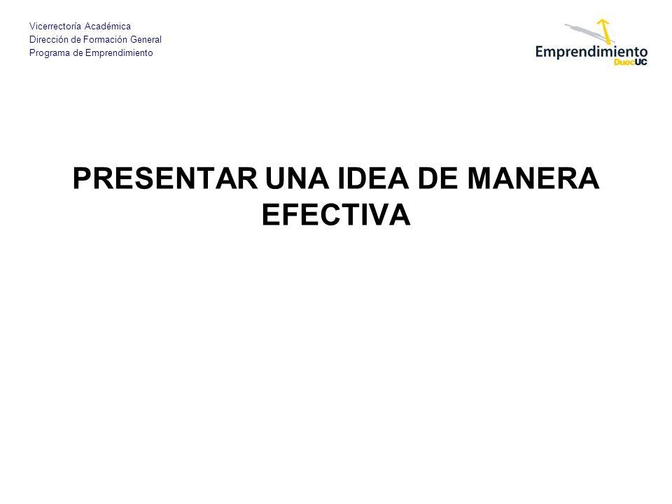 Vicerrectoría Académica Dirección de Formación General Programa de Emprendimiento PRESENTAR UNA IDEA DE MANERA EFECTIVA