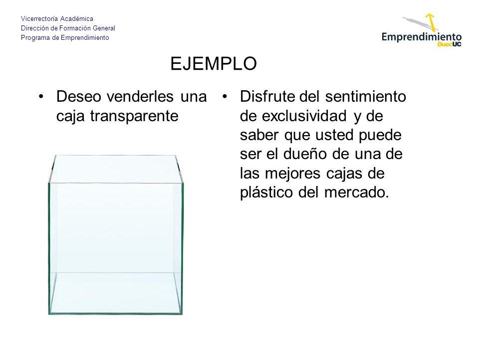Vicerrectoría Académica Dirección de Formación General Programa de Emprendimiento EJEMPLO Deseo venderles una caja transparente Disfrute del sentimien