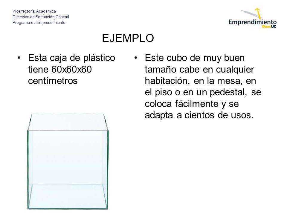 Vicerrectoría Académica Dirección de Formación General Programa de Emprendimiento EJEMPLO Esta caja de plástico tiene 60x60x60 centímetros Este cubo d