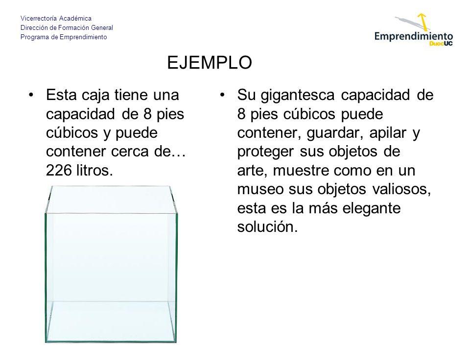 Vicerrectoría Académica Dirección de Formación General Programa de Emprendimiento EJEMPLO Esta caja tiene una capacidad de 8 pies cúbicos y puede cont