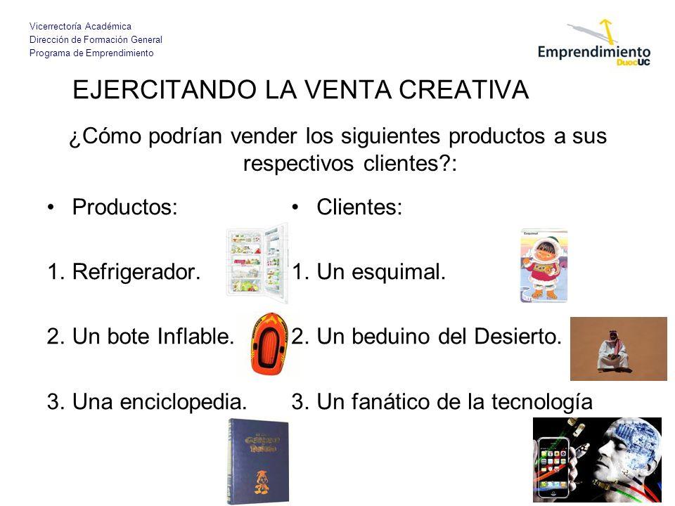 Vicerrectoría Académica Dirección de Formación General Programa de Emprendimiento EJERCITANDO LA VENTA CREATIVA Productos: 1.Refrigerador. 2.Un bote I