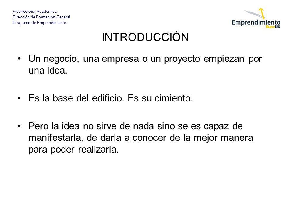 Vicerrectoría Académica Dirección de Formación General Programa de Emprendimiento INTRODUCCIÓN Un negocio, una empresa o un proyecto empiezan por una