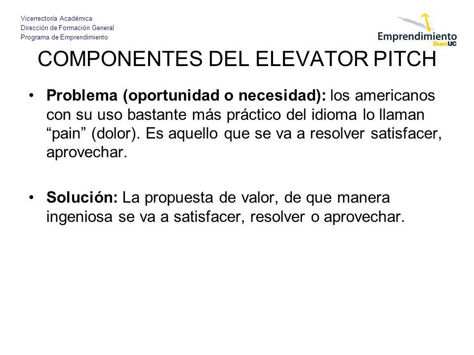 Vicerrectoría Académica Dirección de Formación General Programa de Emprendimiento COMPONENTES DEL ELEVATOR PITCH Problema (oportunidad o necesidad): l