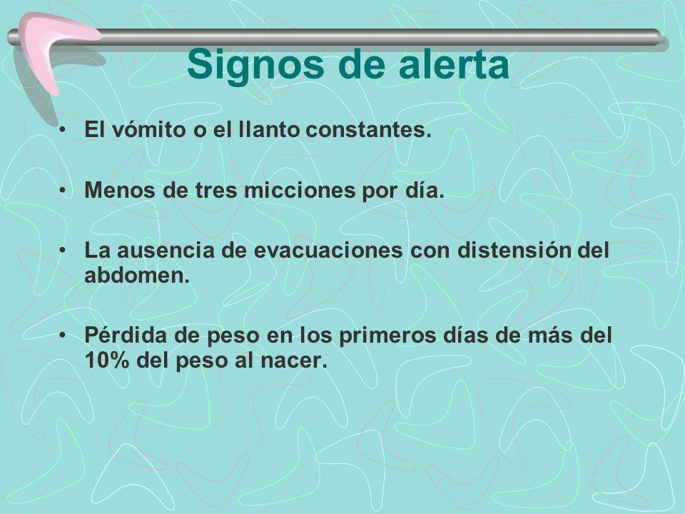 Signos de alerta El vómito o el llanto constantes. Menos de tres micciones por día. La ausencia de evacuaciones con distensión del abdomen. Pérdida de