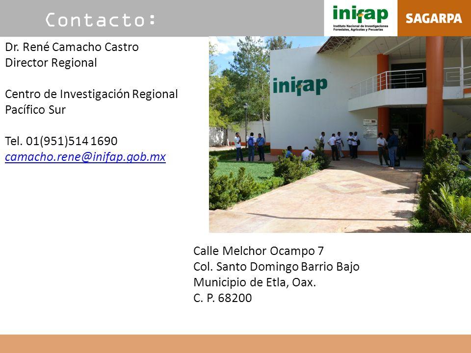 Contacto: Dr. René Camacho Castro Director Regional Centro de Investigación Regional Pacífico Sur Tel. 01(951)514 1690 camacho.rene@inifap.gob.mx Call
