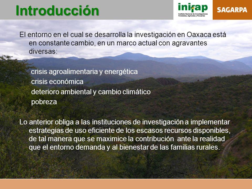 Introducción El entorno en el cual se desarrolla la investigación en Oaxaca está en constante cambio, en un marco actual con agravantes diversas: cris