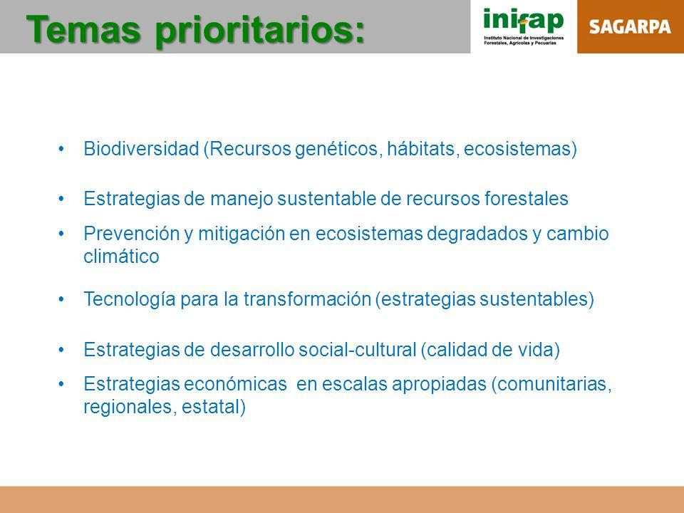 Temas prioritarios: Biodiversidad (Recursos genéticos, hábitats, ecosistemas) Estrategias de manejo sustentable de recursos forestales Prevención y mi