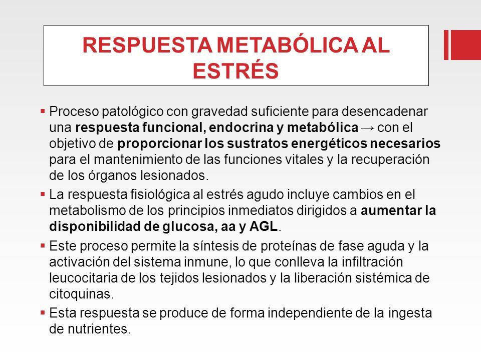 RESPUESTA METABÓLICA AL ESTRÉS Proceso patológico con gravedad suficiente para desencadenar una respuesta funcional, endocrina y metabólica con el obj