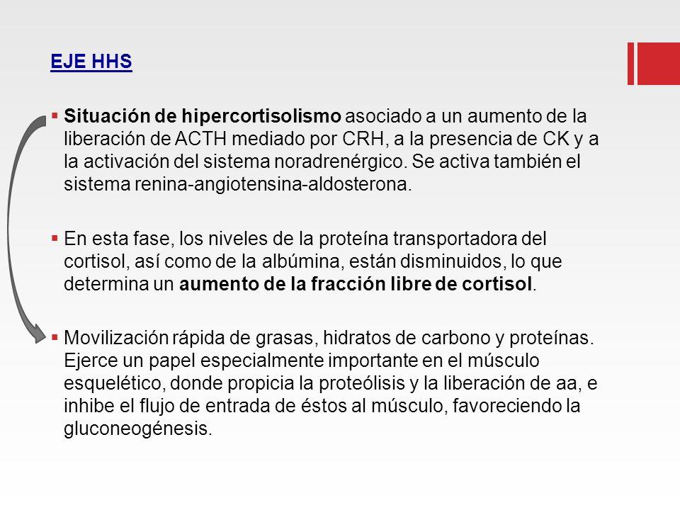EJE HHS Situación de hipercortisolismo asociado a un aumento de la liberación de ACTH mediado por CRH, a la presencia de CK y a la activación del sist