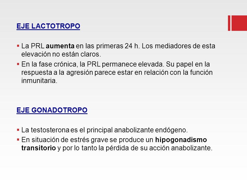 EJE LACTOTROPO La PRL aumenta en las primeras 24 h. Los mediadores de esta elevación no están claros. En la fase crónica, la PRL permanece elevada. Su
