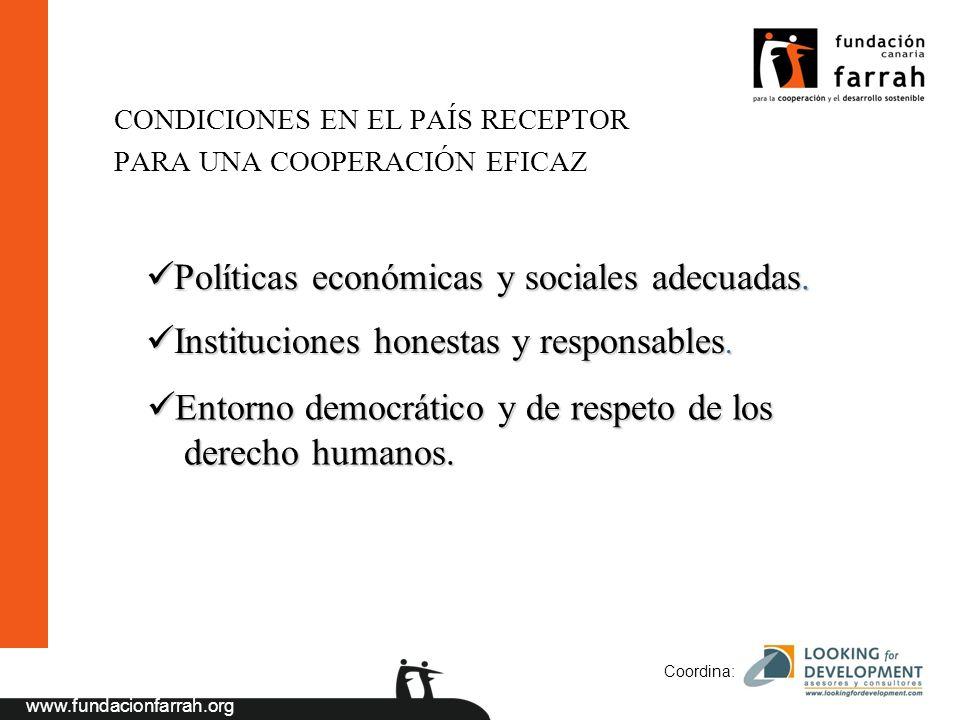 www.fundacionfarrah.org Coordina: CONDICIONES EN EL PAÍS RECEPTOR PARA UNA COOPERACIÓN EFICAZ Políticas económicas y sociales adecuadas.