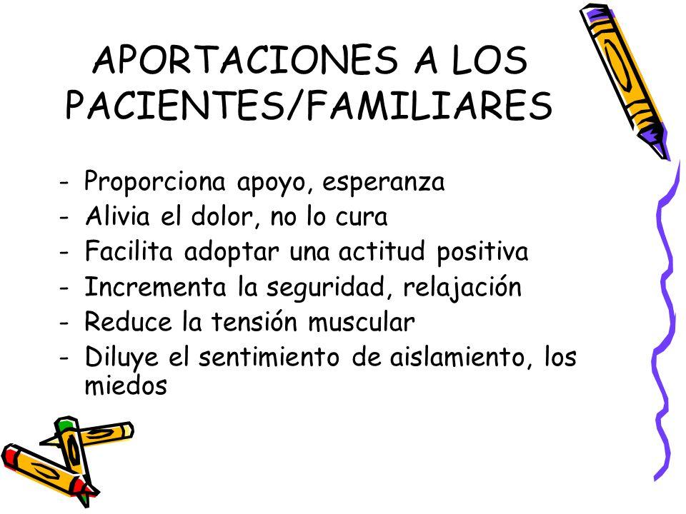 APORTACIONES A LOS PACIENTES/FAMILIARES -Proporciona apoyo, esperanza -Alivia el dolor, no lo cura -Facilita adoptar una actitud positiva -Incrementa