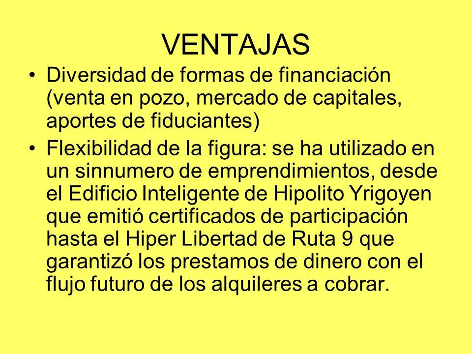 VENTAJAS Diversidad de formas de financiación (venta en pozo, mercado de capitales, aportes de fiduciantes) Flexibilidad de la figura: se ha utilizado