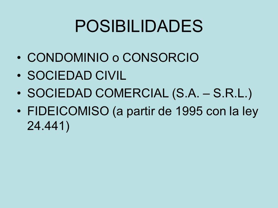 POSIBILIDADES CONDOMINIO o CONSORCIO SOCIEDAD CIVIL SOCIEDAD COMERCIAL (S.A. – S.R.L.) FIDEICOMISO (a partir de 1995 con la ley 24.441)