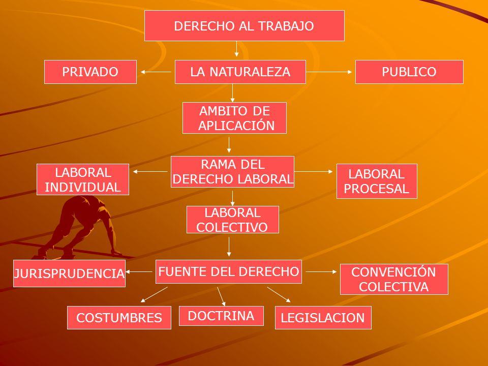 LA NATURALEZA DERECHO AL TRABAJO PUBLICOPRIVADO AMBITO DE APLICACIÓN RAMA DEL DERECHO LABORAL LABORAL INDIVIDUAL LABORAL COLECTIVO LABORAL PROCESAL FU