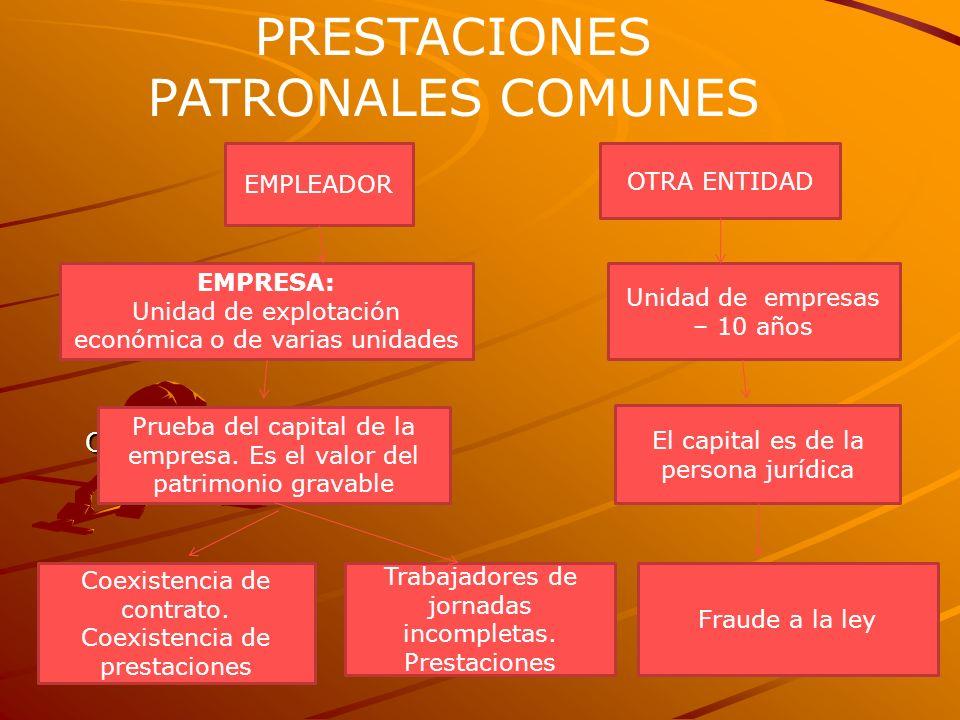 O PRESTACIONES PATRONALES COMUNES EMPLEADOR Unidad de empresas – 10 años EMPRESA: Unidad de explotación económica o de varias unidades Prueba del capi