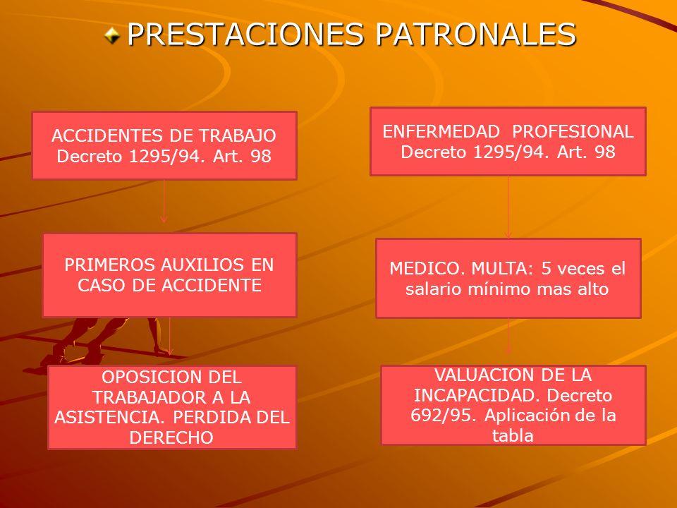 PRESTACIONES PATRONALES ACCIDENTES DE TRABAJO Decreto 1295/94. Art. 98 ENFERMEDAD PROFESIONAL Decreto 1295/94. Art. 98 PRIMEROS AUXILIOS EN CASO DE AC