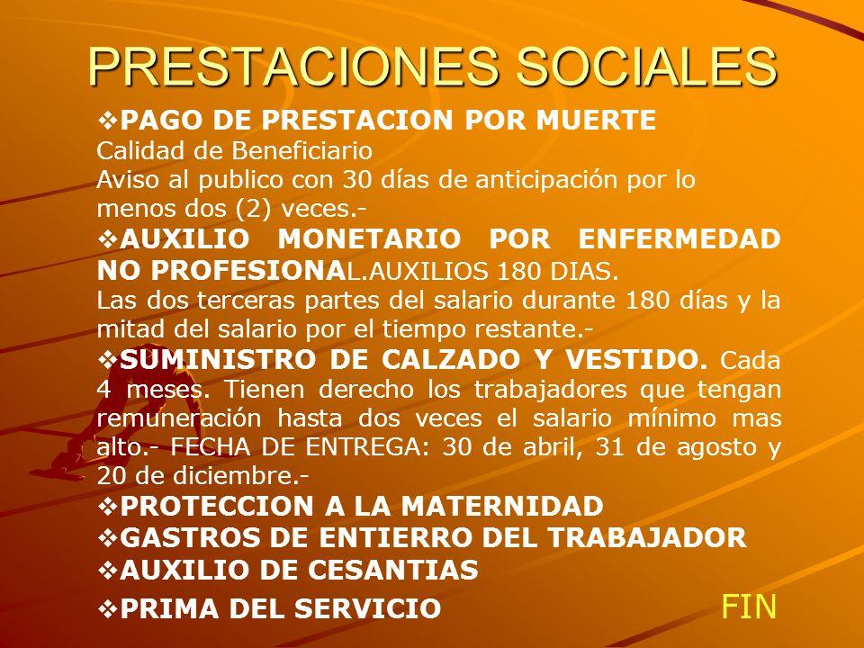 PRESTACIONES SOCIALES PAGO DE PRESTACION POR MUERTE Calidad de Beneficiario Aviso al publico con 30 días de anticipación por lo menos dos (2) veces.-