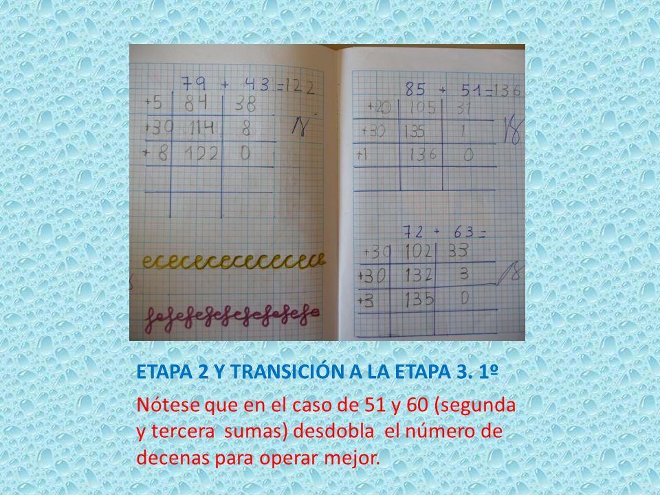 ETAPA 2 Y TRANSICIÓN A LA ETAPA 3. 1º Nótese que en el caso de 51 y 60 (segunda y tercera sumas) desdobla el número de decenas para operar mejor.